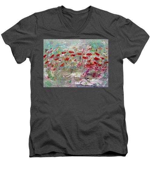 Free Wild Poppies Men's V-Neck T-Shirt