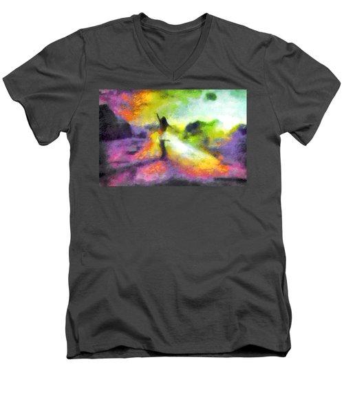 Freedom In The Rainbow Men's V-Neck T-Shirt by Mario Carini