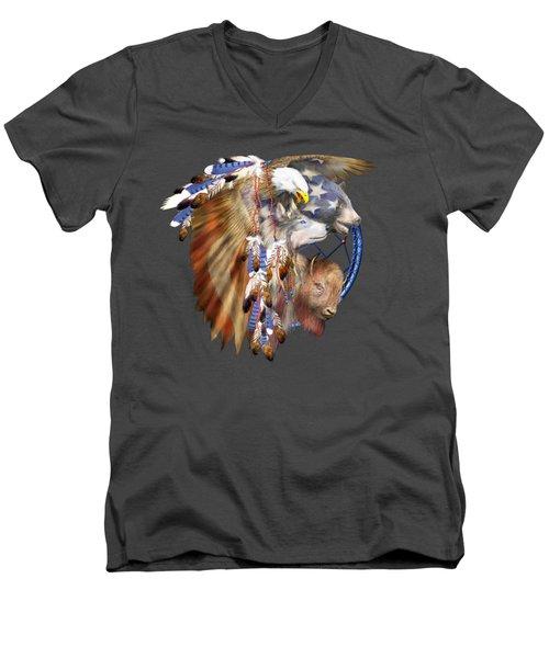 Freedom Lives Men's V-Neck T-Shirt by Carol Cavalaris