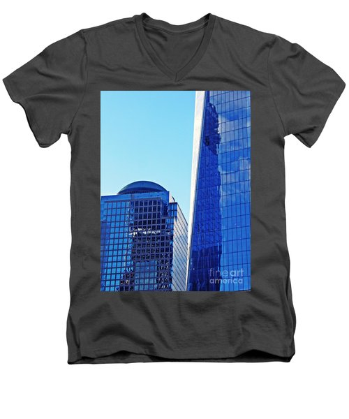 Men's V-Neck T-Shirt featuring the photograph Freedom Tower And 2 World Financial Center by Sarah Loft