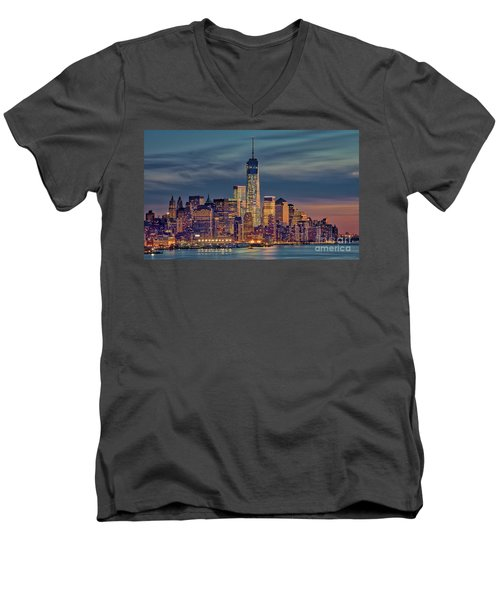 Freedom Tower Construction End Of 2013 Men's V-Neck T-Shirt