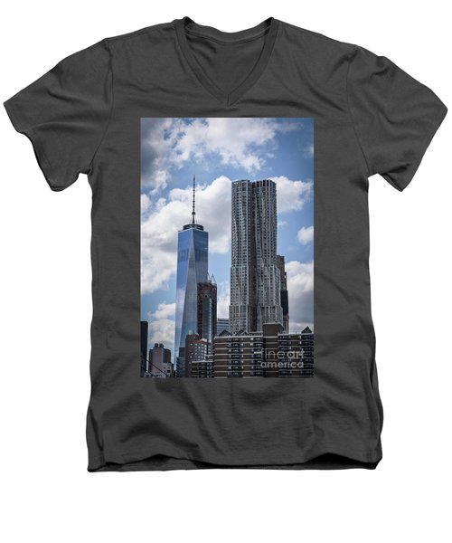 Freedom Tower Men's V-Neck T-Shirt by Judy Wolinsky