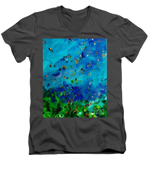 Men's V-Neck T-Shirt featuring the painting Freelancing  by Reina Resto