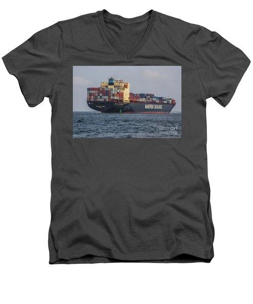Freighter Headed Out To Sea Men's V-Neck T-Shirt