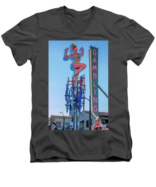 Fremont Street Lucky Lady And Gambling Neon Signs Men's V-Neck T-Shirt