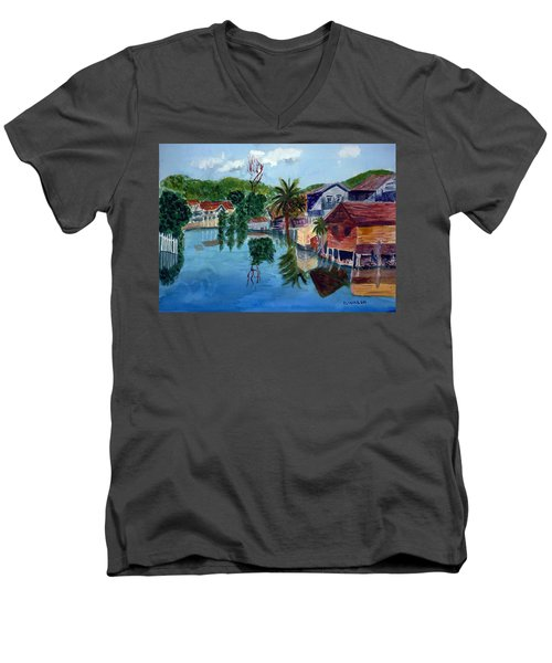 French Harbor Isla De Roatan Men's V-Neck T-Shirt