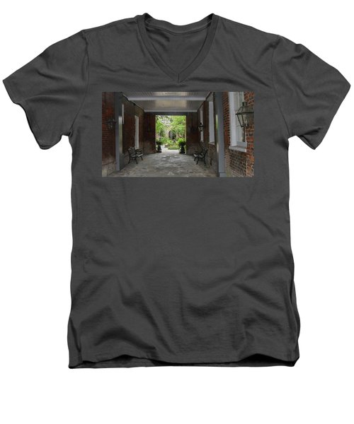 French Quarter Courtyard Men's V-Neck T-Shirt by Mark Barclay