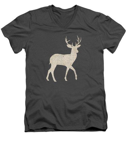 French Script Stag Men's V-Neck T-Shirt by Amanda Lakey