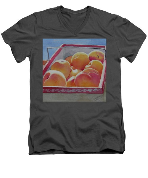 Fresh Peaches Men's V-Neck T-Shirt by Judy Mercer