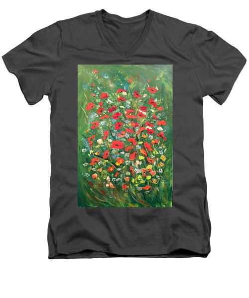 Men's V-Neck T-Shirt featuring the painting Fresh Poppies From The Garden by Dorothy Maier