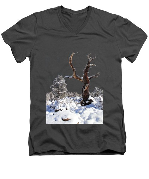 Men's V-Neck T-Shirt featuring the photograph Fresh Snow by Shane Bechler
