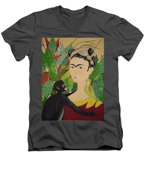 Men's V-Neck T-Shirt featuring the painting Frida With Monkey And Bird by Stephanie Moore