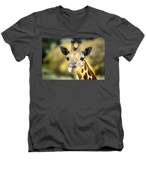 Men's V-Neck T-Shirt featuring the photograph Friendly Giraffe Portrait by Janis Knight