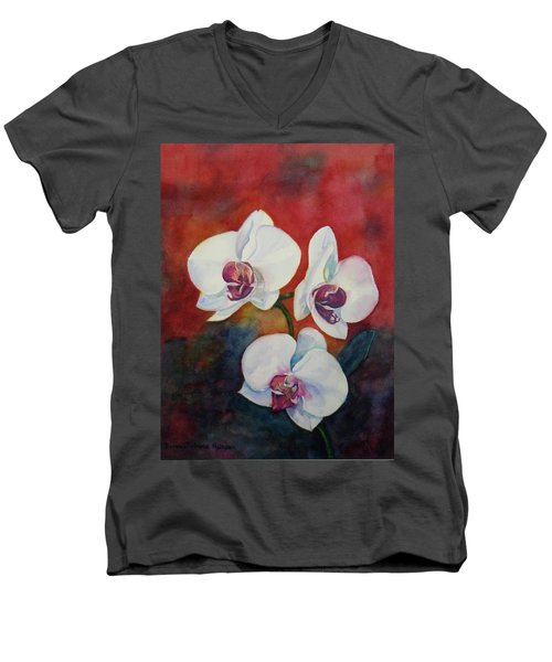 Men's V-Neck T-Shirt featuring the painting Friends by Anna Ruzsan