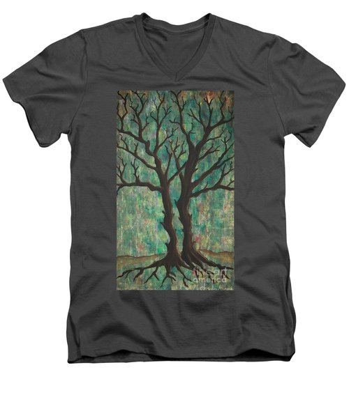 Men's V-Neck T-Shirt featuring the painting Friends by Jacqueline Athmann