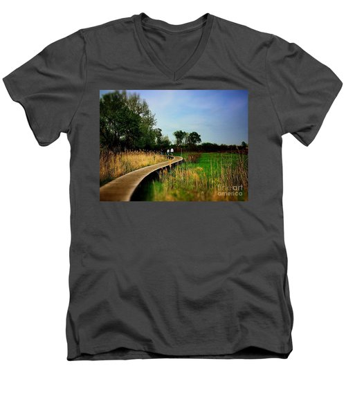 Friends Walking The Wetlands Trail Men's V-Neck T-Shirt