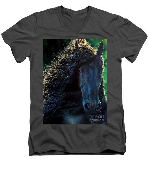 Friesian Glimmer Men's V-Neck T-Shirt by Ruanna Sion Shadd a'Dann'l Yoder