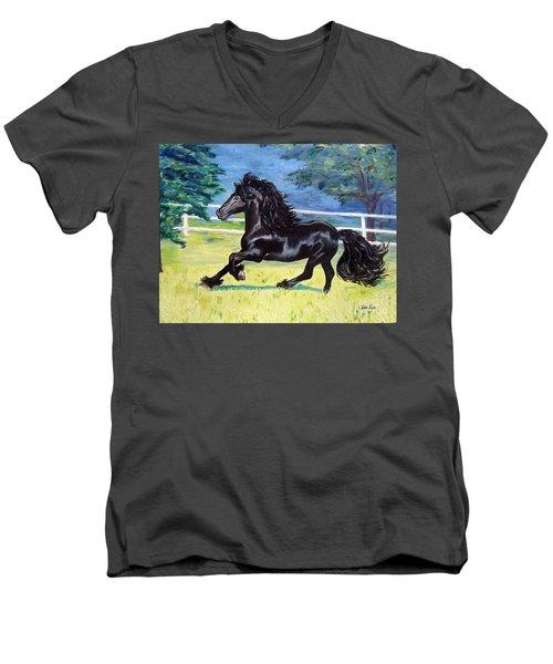 Friesian, Run Like The Wind Men's V-Neck T-Shirt by Lisa Rose Musselwhite
