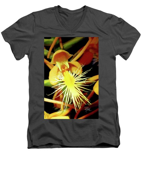 Men's V-Neck T-Shirt featuring the photograph Fringed Yellow Orchid by Meta Gatschenberger