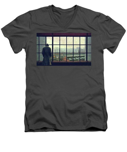 Frits Is Overlooking His Philips Plants In Eindhoven Men's V-Neck T-Shirt by Nop Briex