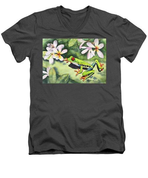 Frog And Plumerias Men's V-Neck T-Shirt