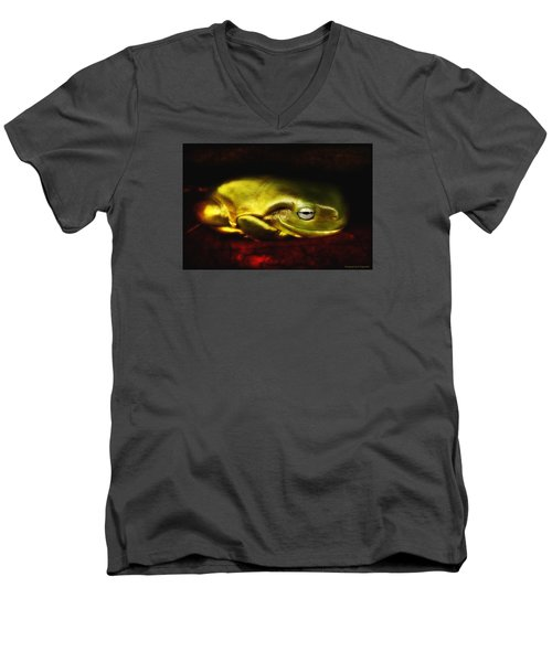 Men's V-Neck T-Shirt featuring the photograph Frog Art 01 by Kevin Chippindall