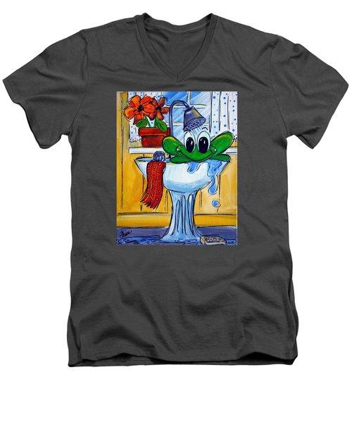 Frog Bath Men's V-Neck T-Shirt by Terri Einer