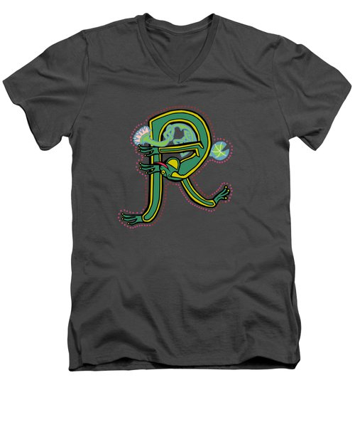 Frog Letter R Blue Men's V-Neck T-Shirt