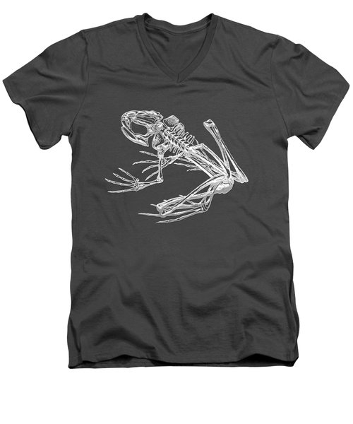 Frog Skeleton In Silver On Blue  Men's V-Neck T-Shirt by Serge Averbukh