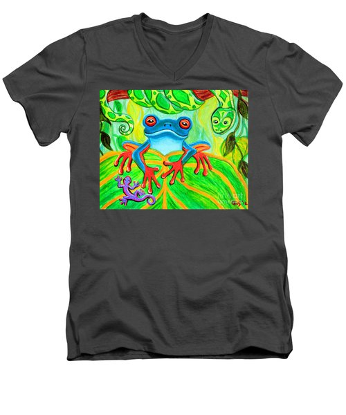 Frog Snake And Gecko In The Rainforest Men's V-Neck T-Shirt by Nick Gustafson