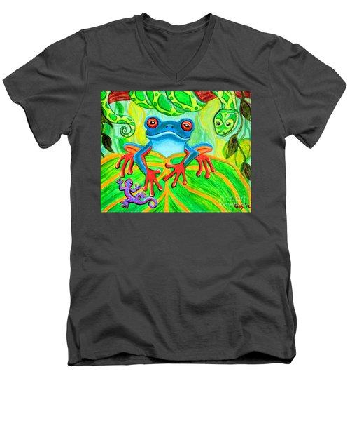 Frog Snake And Gecko In The Rainforest Men's V-Neck T-Shirt