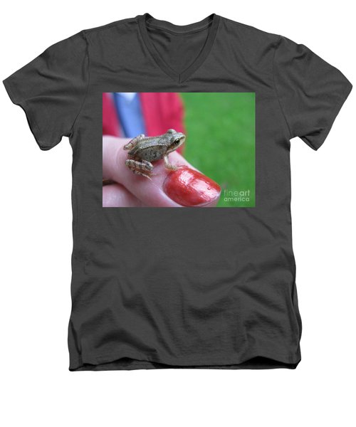 Men's V-Neck T-Shirt featuring the photograph Frog The Prince by Ausra Huntington nee Paulauskaite