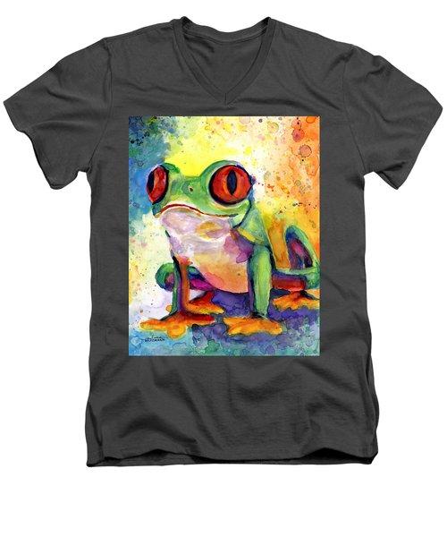 Froggy Mcfrogerson Men's V-Neck T-Shirt by Arleana Holtzmann