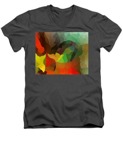 Frolic In The Woods Men's V-Neck T-Shirt by David Lane