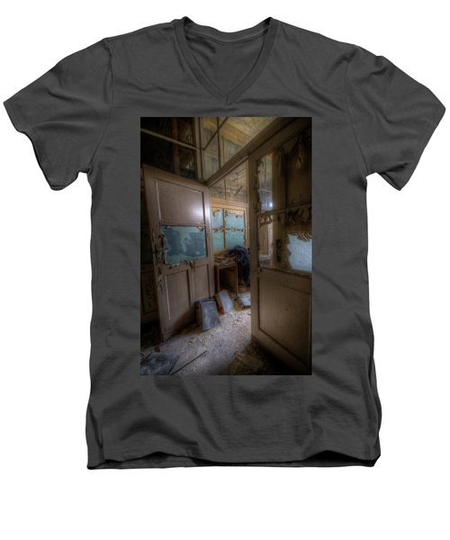 Men's V-Neck T-Shirt featuring the digital art From Darkness by Nathan Wright