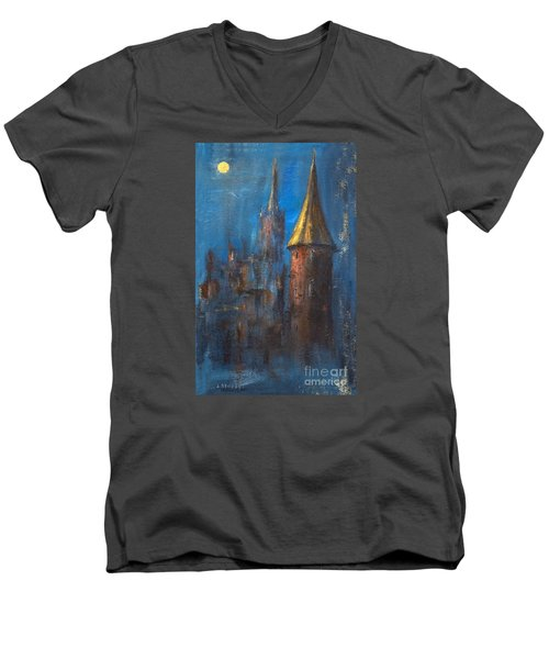 Men's V-Neck T-Shirt featuring the painting From Medieval Times by Arturas Slapsys