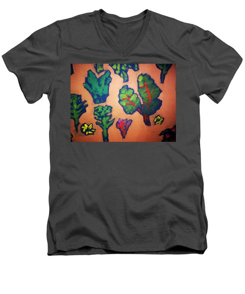 Men's V-Neck T-Shirt featuring the painting From The Earth 2 by Winsome Gunning