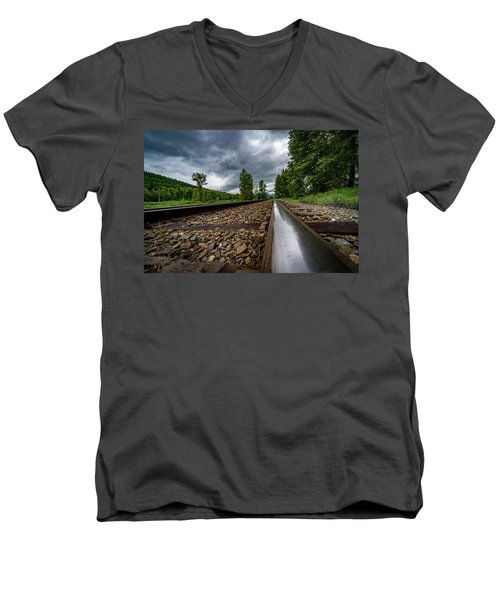 Men's V-Neck T-Shirt featuring the photograph From The Track by Darcy Michaelchuk