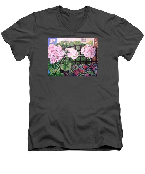 Front Porch Flowers Men's V-Neck T-Shirt by Laura Aceto