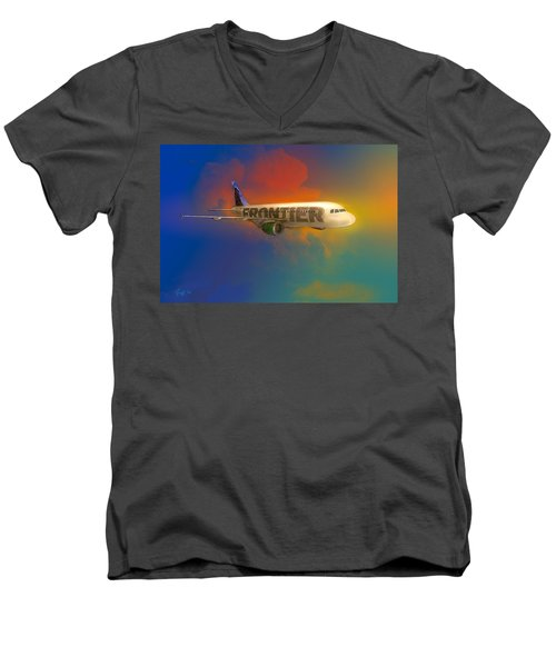 Frontier Airbus A-319 Men's V-Neck T-Shirt
