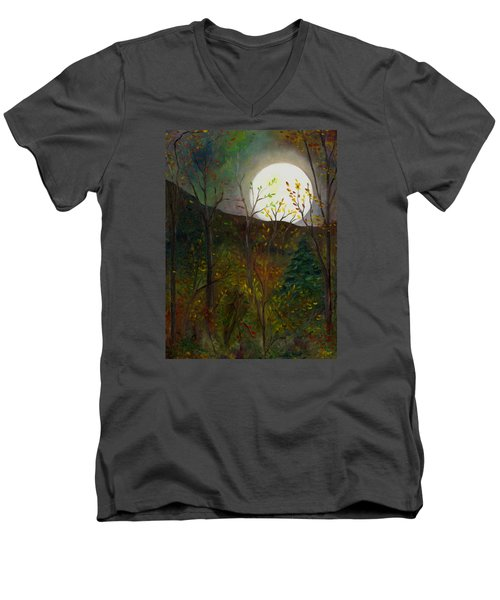 Frost Moon Men's V-Neck T-Shirt by FT McKinstry
