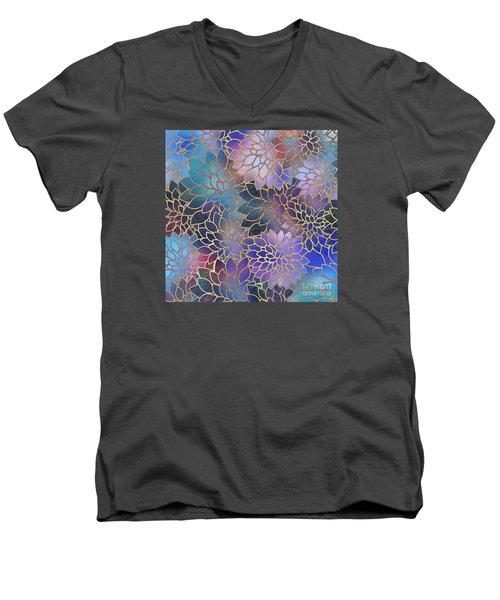 Men's V-Neck T-Shirt featuring the digital art Frostwork Fantasy by Klara Acel