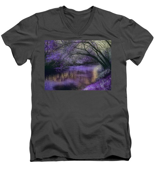 Frosty Lilac Wilderness Men's V-Neck T-Shirt by Michele Carter
