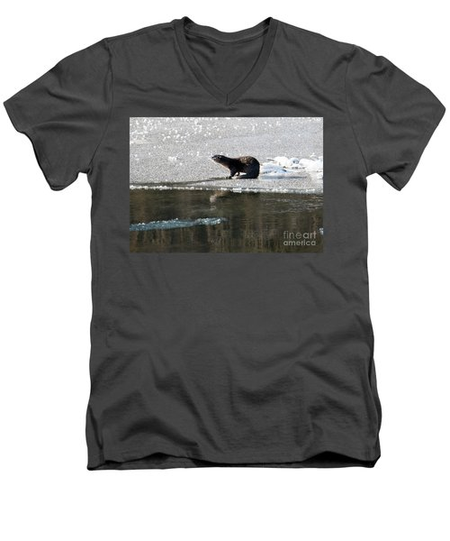 Frosty River Otter  Men's V-Neck T-Shirt by Mike Dawson