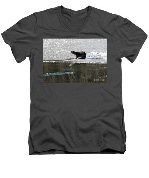 Frosty River Otter  Men's V-Neck T-Shirt