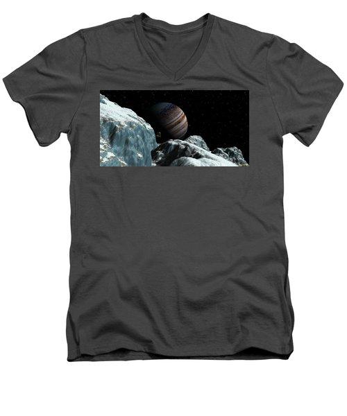 Men's V-Neck T-Shirt featuring the digital art Frozen Blue Gem by David Robinson