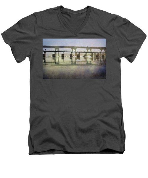 Men's V-Neck T-Shirt featuring the photograph Frozen Bridge by Jean Haynes