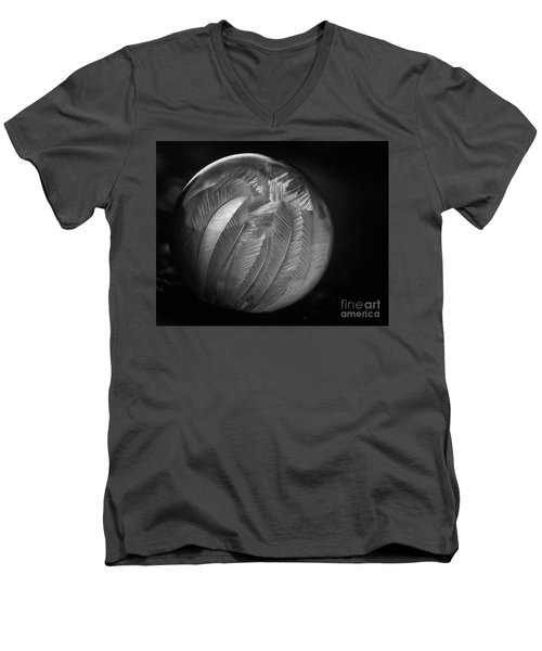 Frozen Soap Bubble - Black And White - Macro Men's V-Neck T-Shirt