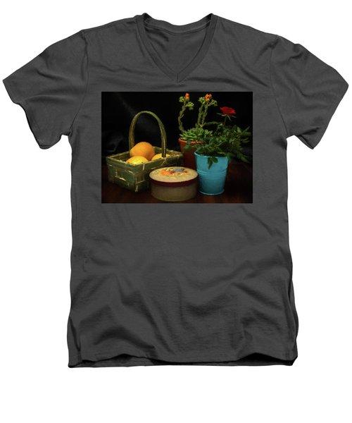 Fruit And Flowers Still Life Digital Painting Men's V-Neck T-Shirt