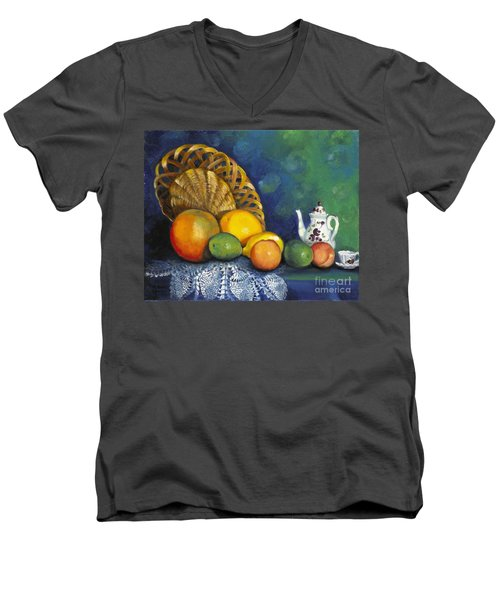 Men's V-Neck T-Shirt featuring the painting Fruit On Doily by Marlene Book